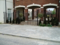 Residential courtyard gates and railings, galvanised and painted, Poundbury