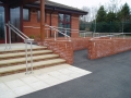 Stainless steel handrail and balustrade to entrance ramp and steps at RG Spiller