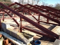 Trussed roof steels at Hazelgrove School, Sparkford.